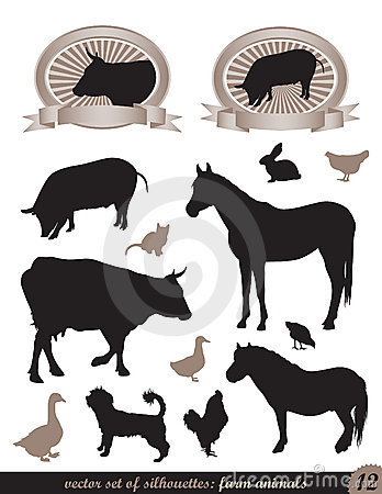 12 silhouettes of animals