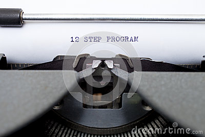 12 Twelve Step Program Typed on an Old Typewriter