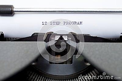 12 Twelve Step Program Typed on an Old Typewriter