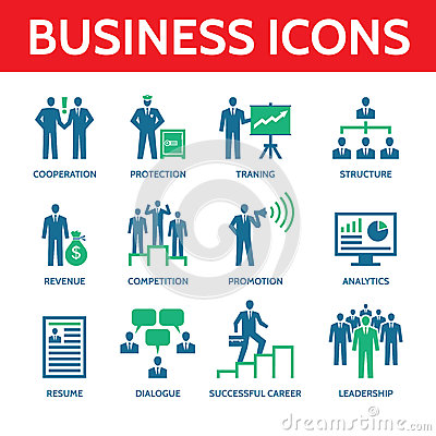 Free 12 Vector Business Icons In Blue And Green Colors Stock Photography - 42970582