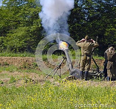 120 mm mortar firing
