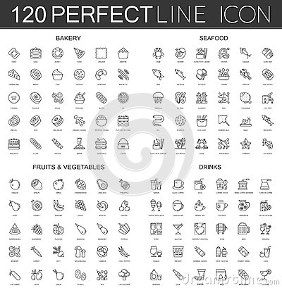 Free 120 Modern Thin Line Icons Set Of Bakery, Seafood, Fruits And Vegetables, Drinks. Stock Images - 101710854