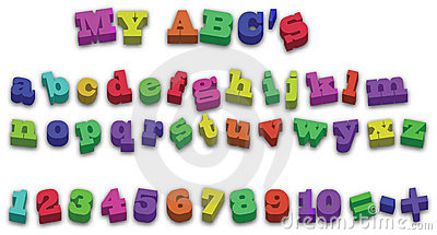 123 ABD Alphabet Fridge Magnets Vector Illustration