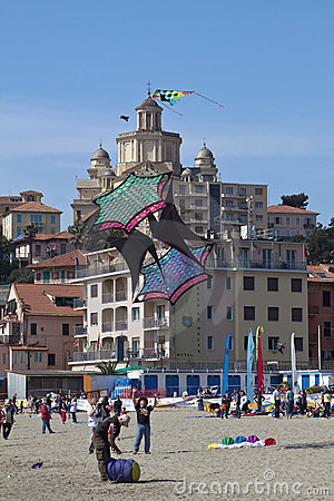 The 12nd kite festival in Imperia 2011: a big kite Editorial Image