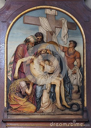 Free 13th Stations Of The Cross,Jesus ` Body Is Removed From The Cross Stock Photo - 132002050