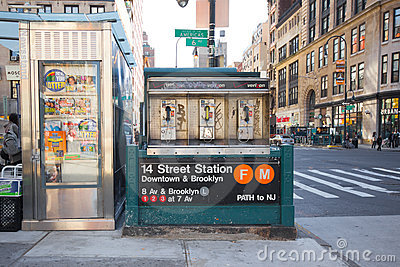 14 Street Subway and Intersection NYC Editorial Stock Image