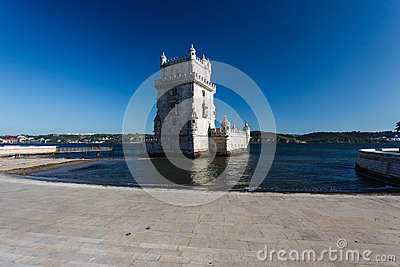 The 14th century Belem Tower manueline style fortress in the Tagus river