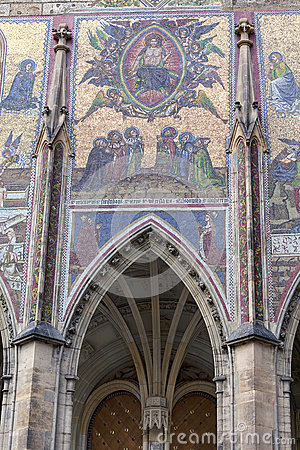 Free 14th Century St. Vitus Cathedral , Facade, Mosaic, Last Judgment, Prague, Czech Republic Royalty Free Stock Photo - 92857075