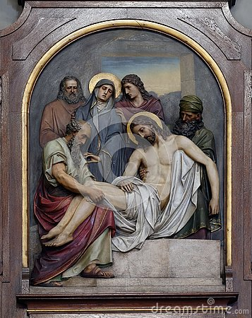 Free 14th Stations Of The Cross, Jesus Is Laid In The Tomb And Covered In Incense Royalty Free Stock Photos - 132001908