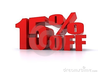 15  Percent off promotional sign