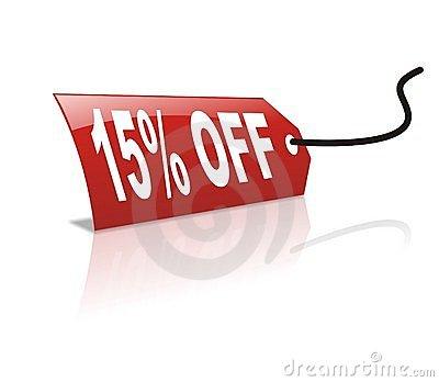 15 persentage off discount