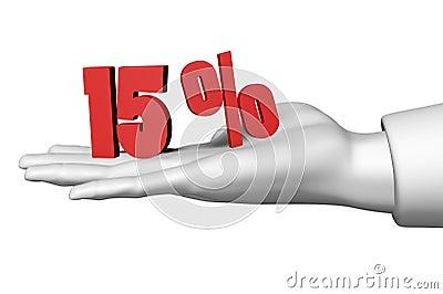 15 red percentage symbol