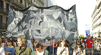 15M protests in Barcelona - Guernica sign Editorial Photo