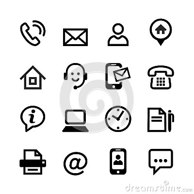 Free 16 Basic Icons - Contact Us Royalty Free Stock Photography - 34916177