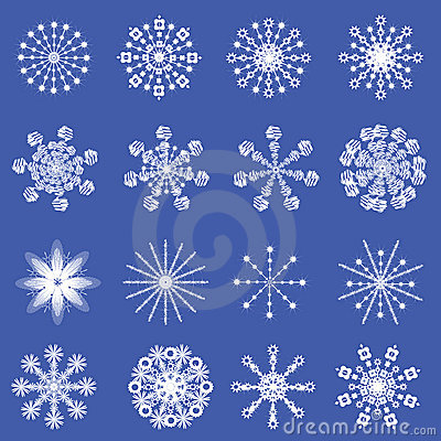 16 beautiful cold crystal snowflakes