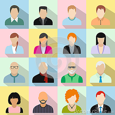 Free 16 Characters Flat Icons Set Royalty Free Stock Images - 62848019