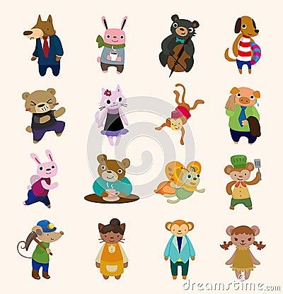 16 cute animal icons set