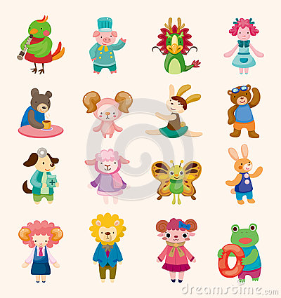 16 cute animal icons set