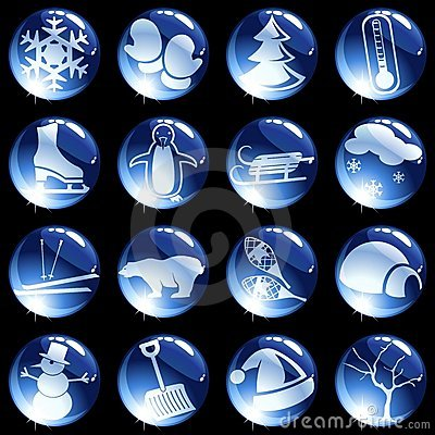 Free 16 High-gloss Winter Themed Buttons Stock Photography - 11292332