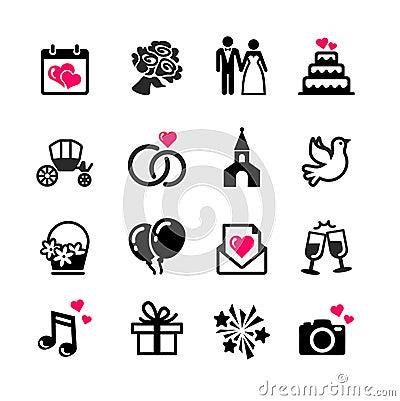 Free 16 Web Icons Set - Wedding Royalty Free Stock Photography - 34486737