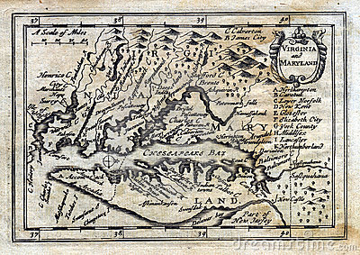 1635 Antique Speed Map Colonial Virginia Maryland Royalty
