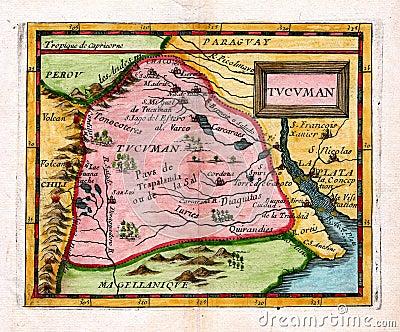 1685 Antique Duval Map Tucuman Argentina