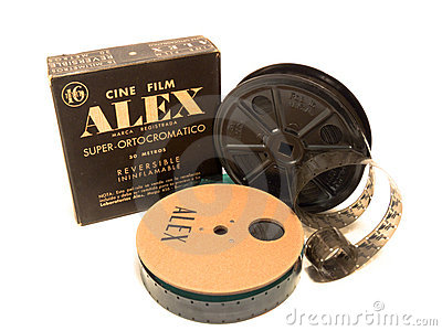 16mm Alex box, film and reel EDITORIAL Editorial Stock Image