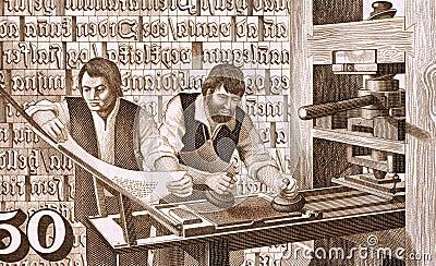 16th Century Printers at Work Editorial Photo