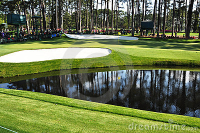 16th Green at Masters Editorial Stock Image