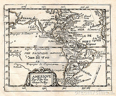 1765 De Val Map of North and South America