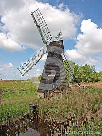 17th century wooden wind driven fen drainage pump.