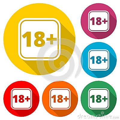 Free 18+ Age Restriction Sign, Vector Eighteen Icon With Long Shadow Stock Photos - 119065433