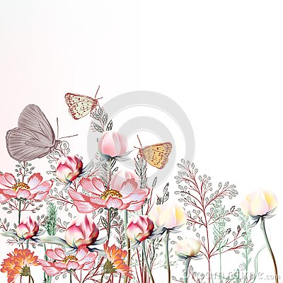 Free 18	Flower Vector Illustration With Cosmos And Peony Flowers Royalty Free Stock Image - 106490536