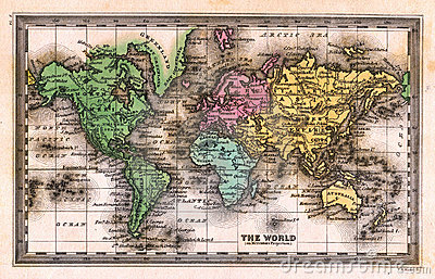 1835 Antique World Map