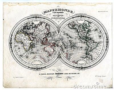 1846 Map World in Hemispheres