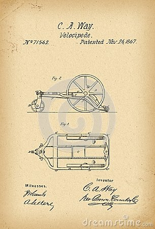 Free 1867 Patent Velocipede Bicycle History Invention Royalty Free Stock Photography - 112185627