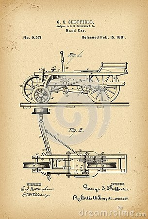 Free 1881 Patent Hand Car Railway Trolley History Invention Stock Images - 111926444