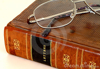 18th Century Leather Bound Book With Spectacles