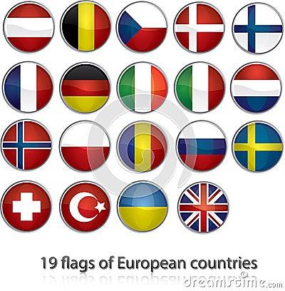 19 flags of european countries