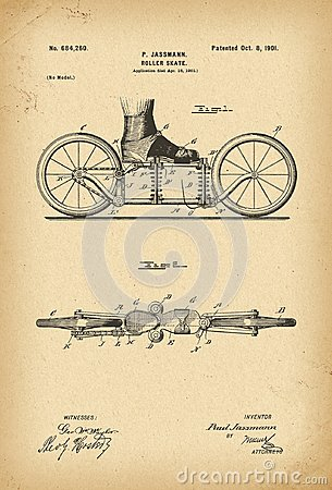 Free 1901 Roller-skates Patent History Invention Royalty Free Stock Photos - 112327648