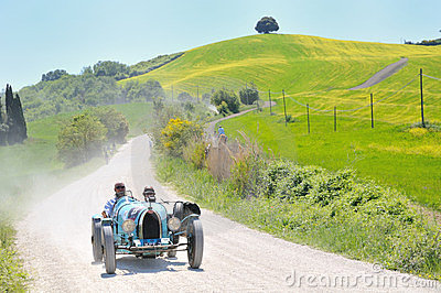 A 1925 light blue BUGATTI Type 35 at 1000 Miglia Editorial Photography