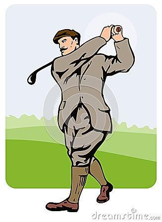 1930s golfer teeing off