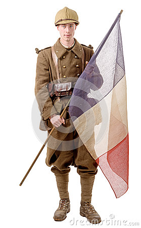 Free 1940 French Soldier With A Flag Isolated On A White Background Stock Photography - 65629162