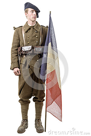 Free 1940 French Soldier With A Flag Isolated On A White Background Royalty Free Stock Image - 65629426