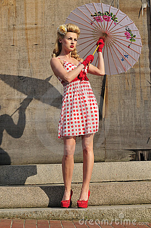 1940 s starlet with umbrella