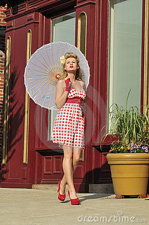 1940s lady with umbrella