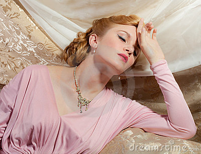 1940s Style Pin-Up Shot of Beautiful Young Woman