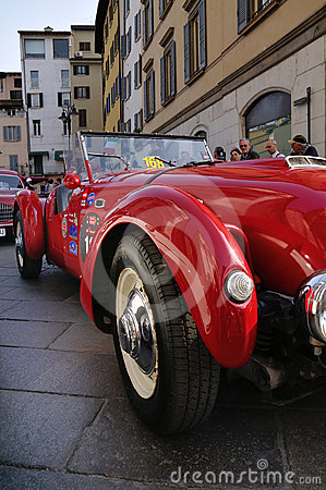 1950 built red Healey Silverstone at 1000 Miglia Editorial Stock Photo