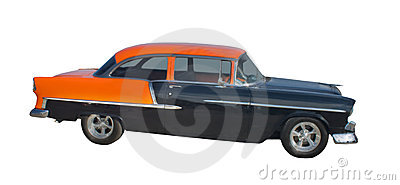 1950s black and orange hotrod
