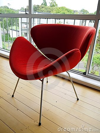 1950s: modernist red chair - side
